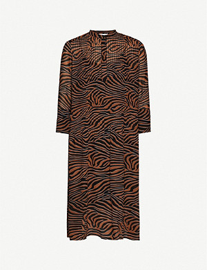 SAMSOE & SAMSOE Elm animal-print crepe midi shirt dress
