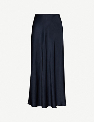 SAMSOE & SAMSOE Alsop high-waisted satin-crepe skirt