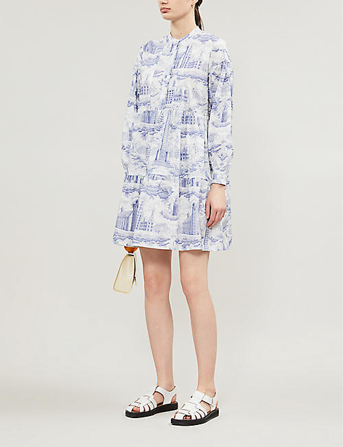 SAMSOE & SAMSOE Margo landscape-printed cotton mini shirt dress