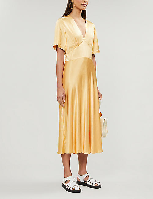 SAMSOE & SAMSOE Cindy V-neck crepe midi dress