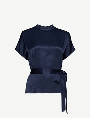 SAMSOE & SAMSOE Kimberly tailored belted satin top