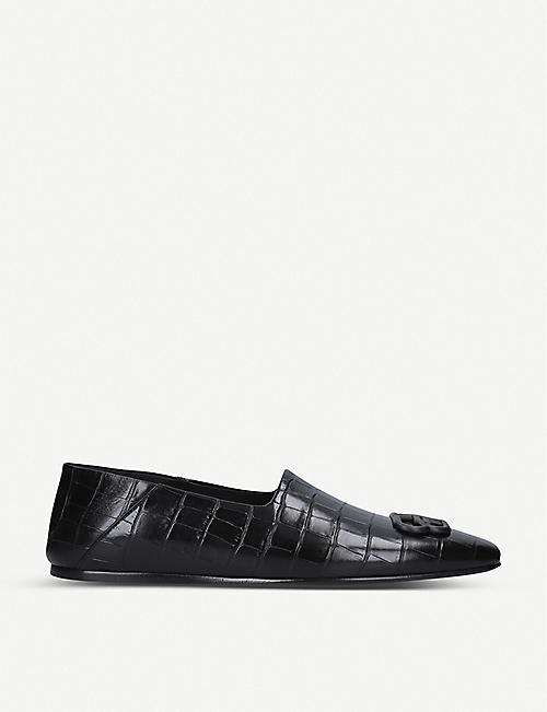 BALENCIAGA: BB crocodile-embossed leather loafers