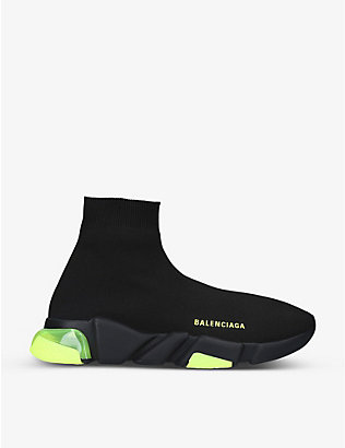 BALENCIAGA: Speed clear-sole stretch-knit mid-top trainers