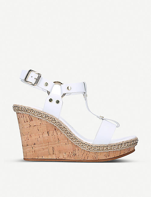 CARVELA: Karolina jute-trimmed leather wedge sandals
