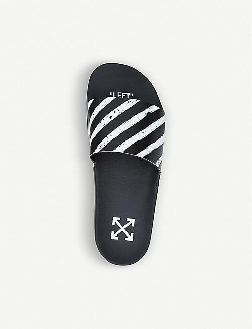 OFF-WHITE C/O VIRGIL ABLOH Logo-print striped rubber sliders