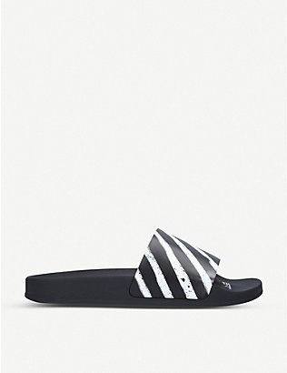 OFF-WHITE C/O VIRGIL ABLOH: Logo-print striped rubber sliders