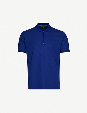 PS BY PAUL SMITH Zip-neck cotton-piqué polo shirt