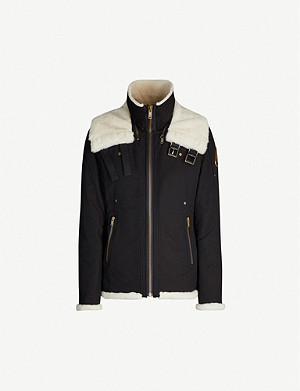 MOOSE KNUCKLES Mossbank double-collar cotton and shearling-blend coat