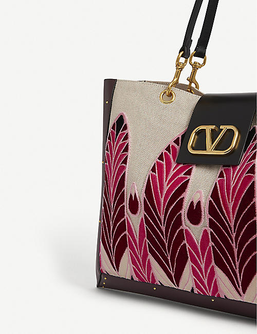 VALENTINO Vsling feather embroidered canvas tote