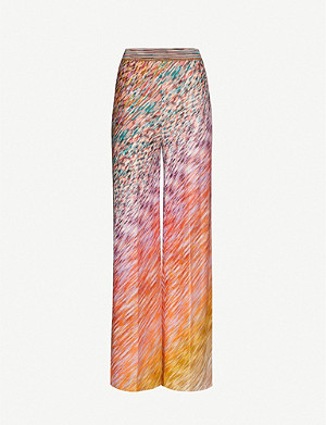 MISSONI Graphic-print high-rise straight stretch-knit trousers