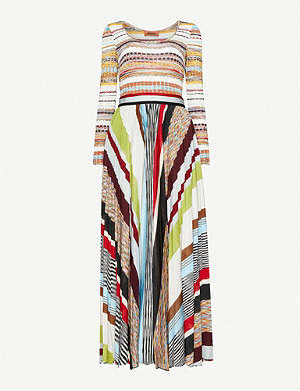MISSONI Panelled pleated woven midi dress