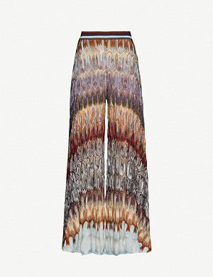 MISSONI Graphic-print high-rise straight metallic-knit trousers