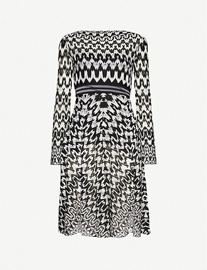 MISSONI Boat-neck graphic-pattern knitted mini dress