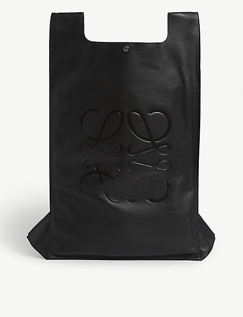 LOEWE Logo-embossed leather backpack