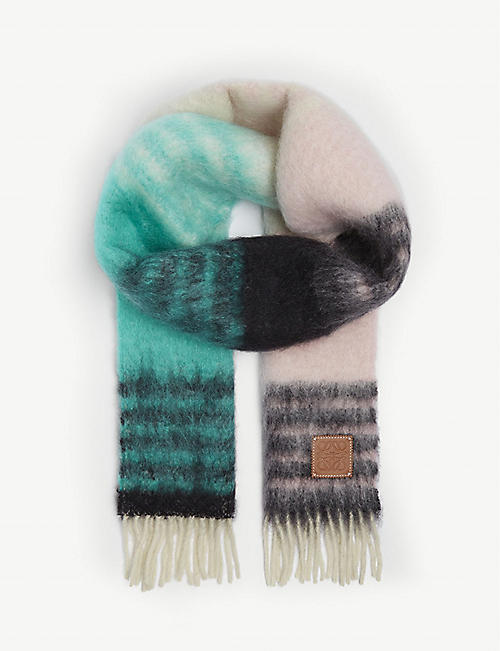 LOEWE Striped branded mohair-blend scarf