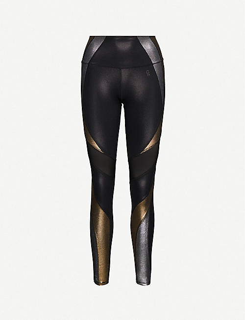 GOOD AMERICAN Metallic-panel stretch-jersey leggings