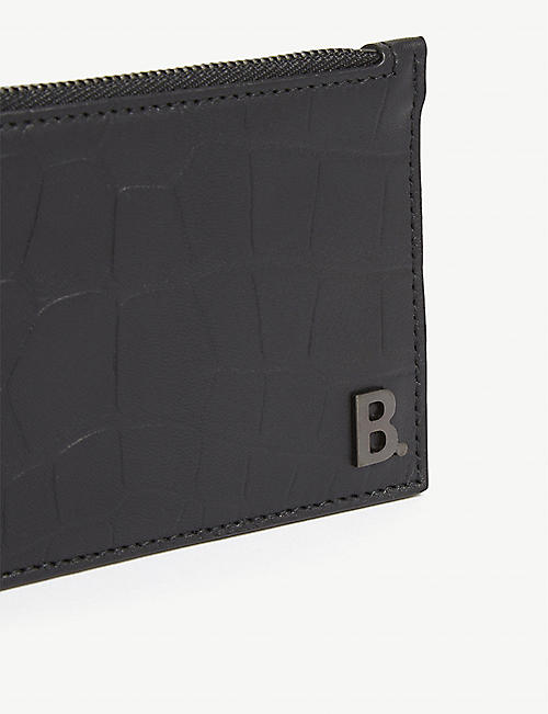 BALENCIAGA Croc-embossed leather card holder