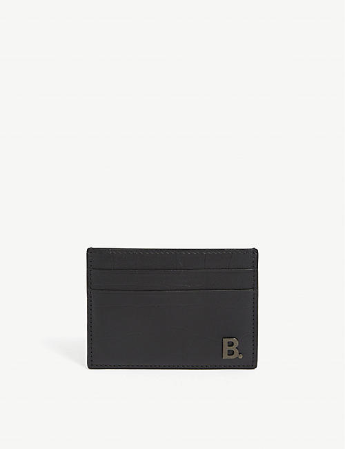 BALENCIAGA Leather croc-embossed card holder