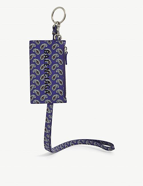 BALENCIAGA Paisley print leather keyring card holder