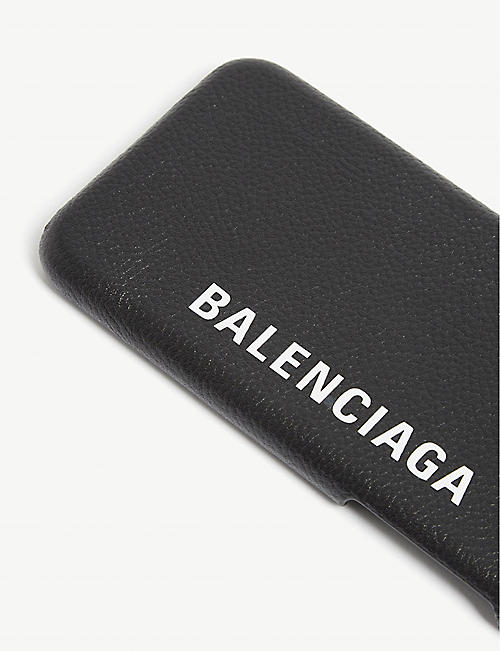 BALENCIAGA Logo print leather iPhone X case