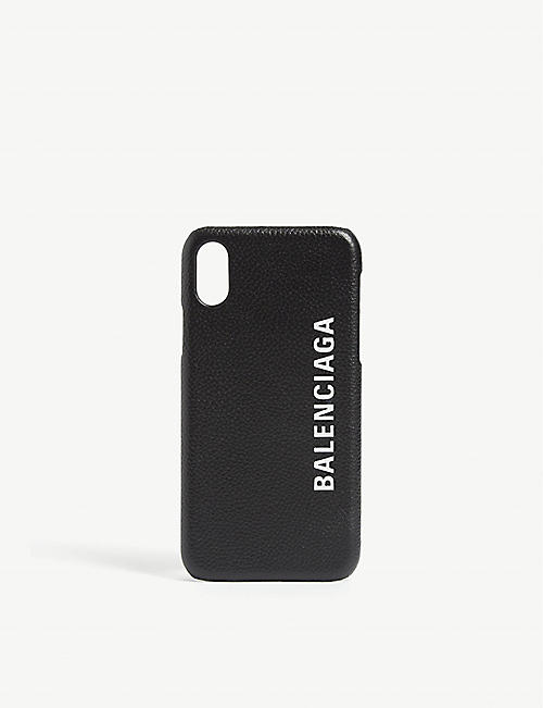 BALENCIAGA: Logo print leather iPhone X case