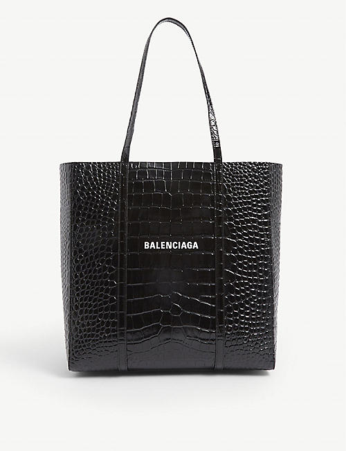 BALENCIAGA Everyday croc-embossed leather tote bag
