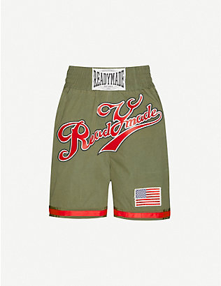 READYMADE: Logo-embroidered cotton boxing shorts