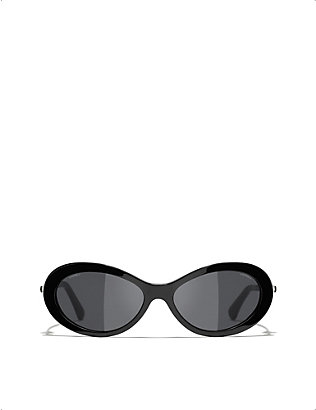 CHANEL: CH5428H acetate oval-frame sunglasses