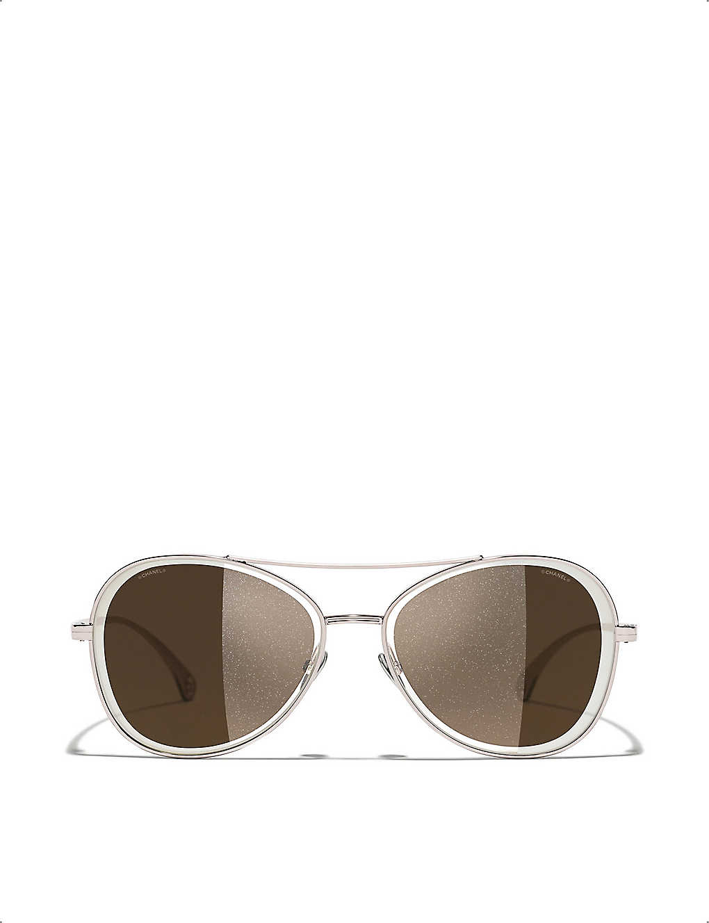 CHANEL: CH4260 metal aviator-frame sunglasses