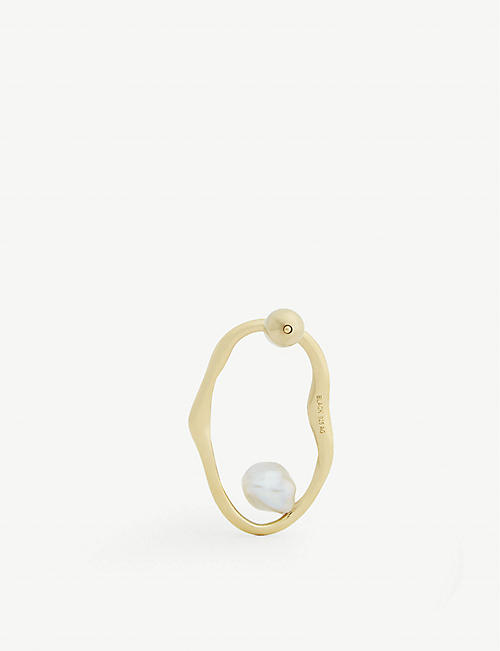 MARIA BLACK Nugget gold-plated pearl hoop earring