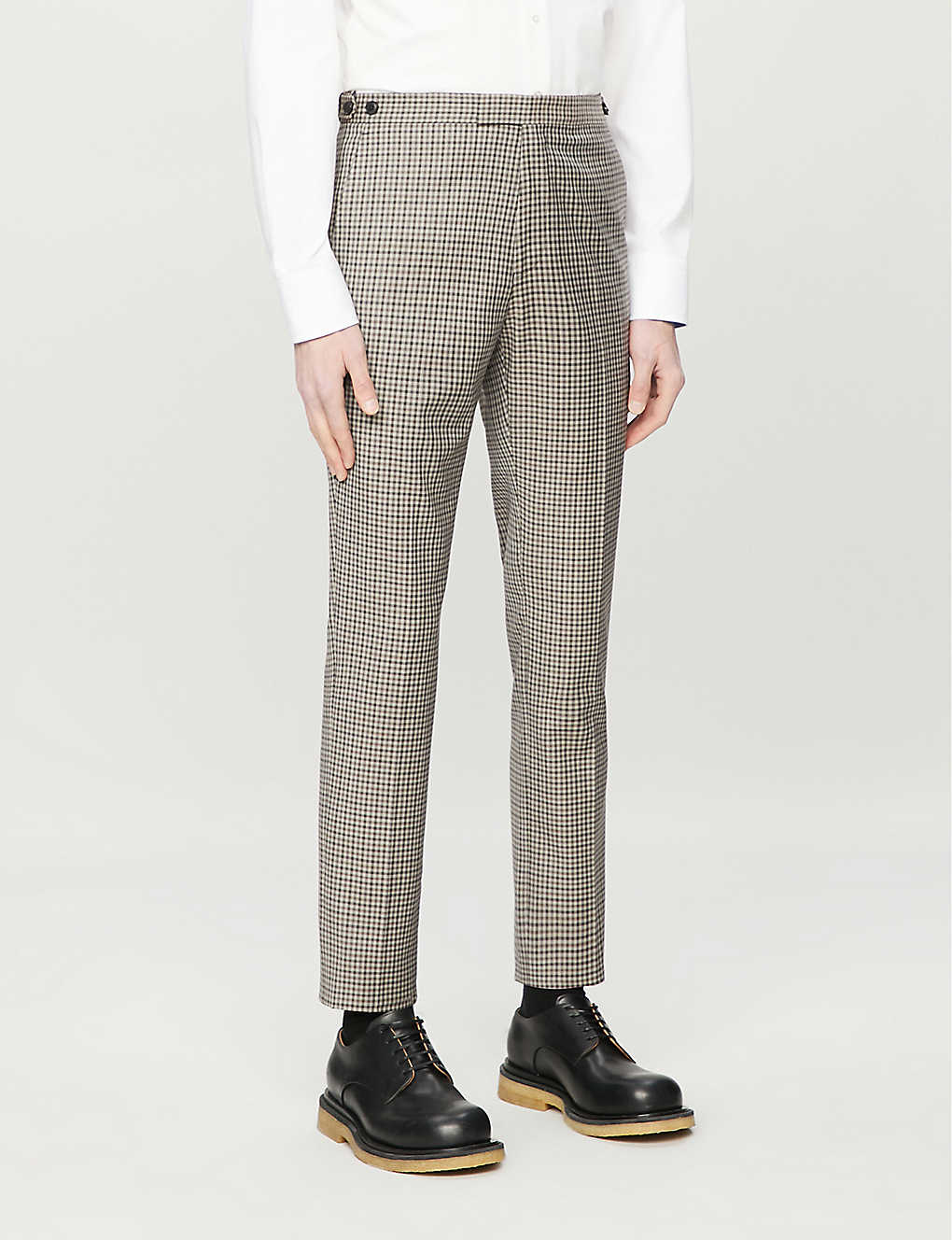 REISS: Vallarta checked slim-fit wool trousers