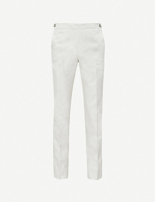 REISS Well melange-pattern cotton trousers