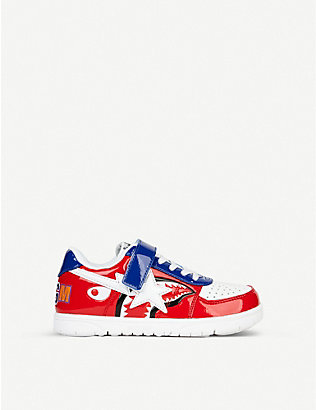 A BATHING APE: Logo-print leather low-top trainers 4-8 years