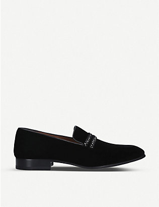MALONE SOULIERS: Miles velvet, suede and crystal loafers