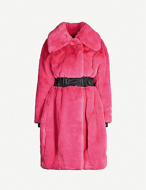 KARL ACCORDING TO CARINE Faux-leather-trimmed faux-fur coat