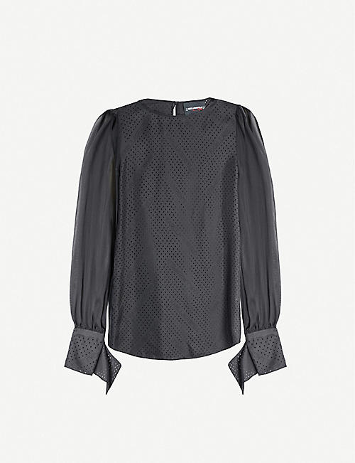 KARL ACCORDING TO CARINE Perforated silk blouse