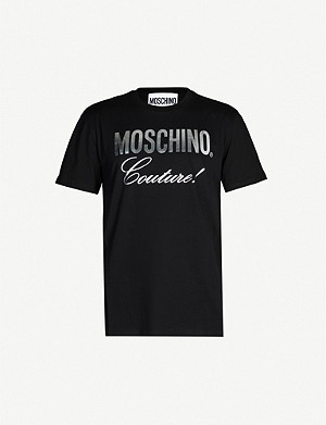MOSCHINO Metallic logo-print cotton-jersey T-shirt