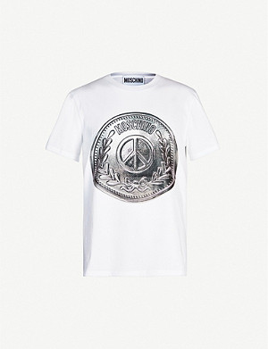 MOSCHINO Coin-print cotton-jersey T-shirt