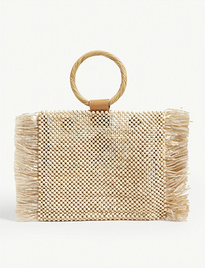 ARANAZ Fin wood and raffia tote