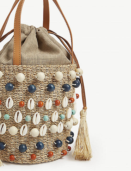 ARANAZ Octo shell raffia bucket bag
