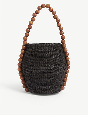ARANAZ Nahla raffia bucket bag