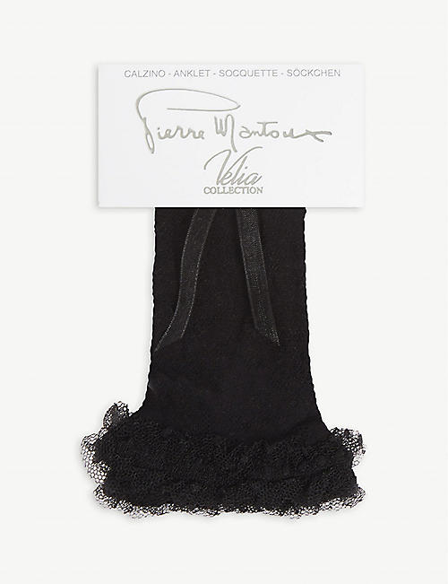 PIERRE MANTOUX: Ferran lace frill ankle socks