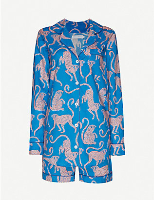 DESMOND AND DEMPSEY: Chango monkey-print cotton pyjama set