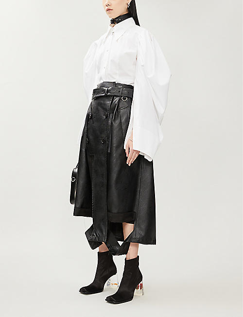 HYUN MI NIELSEN Puffed-sleeve collared cotton-poplin shirt
