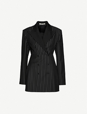 HYUN MI NIELSEN Pinstriped padded-shoulder wool blazer