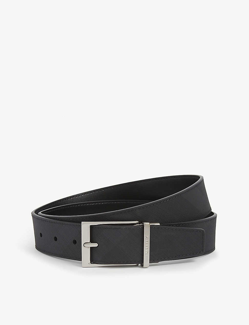 BURBERRY: London check leather belt