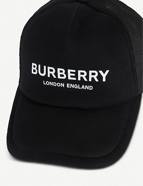 BURBERRY Logo-print leather and mesh snapback cap
