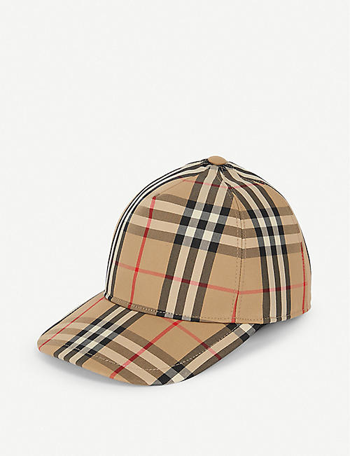 BURBERRY Logo-embellished vintage check-print cotton-blend baseball cap