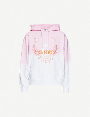 KENZO: Dip-dye logo-embroidered cotton-jersey hoody