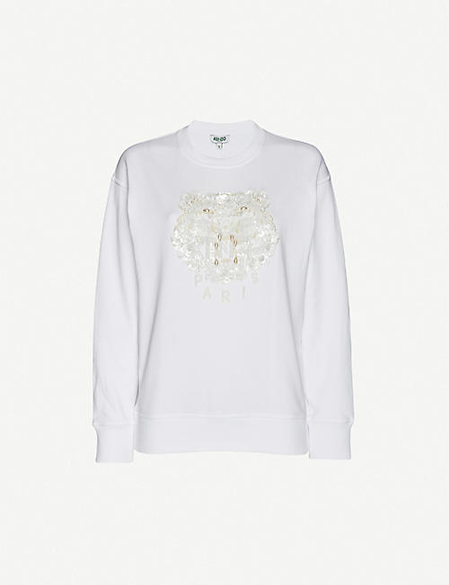 KENZO: Metallic logo-embroidered cotton-jersey sweatshirt